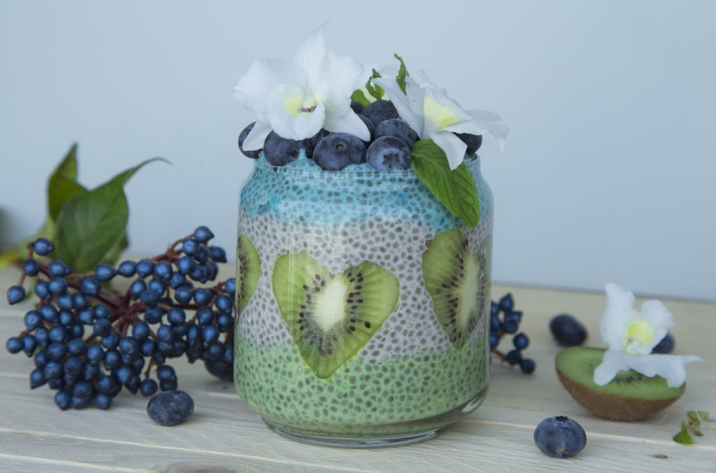 Edible orchid Chia pudding